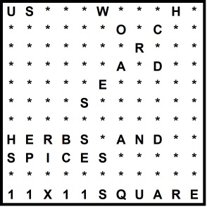 American 11x11 Wordsearch puzzle no.318 - herbs and spices