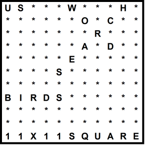 American 11x11 Wordsearch puzzle no.319 - birds