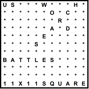 American 11x11 Wordsearch puzzle no.320 - battles
