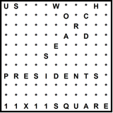 American 11x11 Wordsearch puzzle no.323 - Presidents