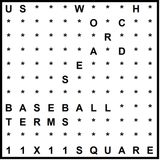 American 11x11 Wordsearch puzzle no.325 - baseball terms