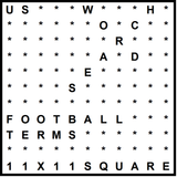 American 11x11 Wordsearch puzzle no.326 - football terms