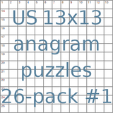 American 13x13 anagram crossword puzzles 26-pack no.1