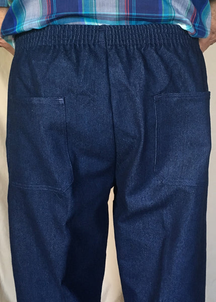Mens Elastic Waist Navy Blue Jeans (rear view)