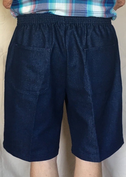 Mens Elastic Waist Denim Shorts, Navy Blue (rear view)