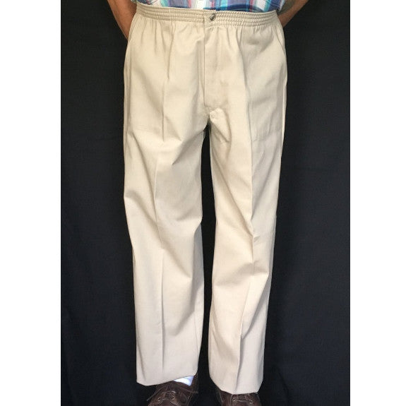 Men's Elastic Waist Pants With Snap and Zipper Fly