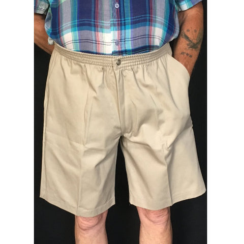 Men's Elastic Waist Shorts With Snap and Zipper Fly