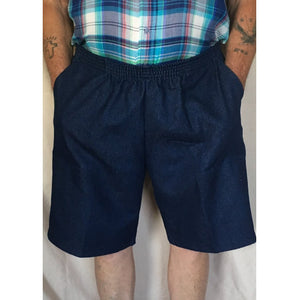 Mens Elastic Waist Denim Shorts, Navy Blue