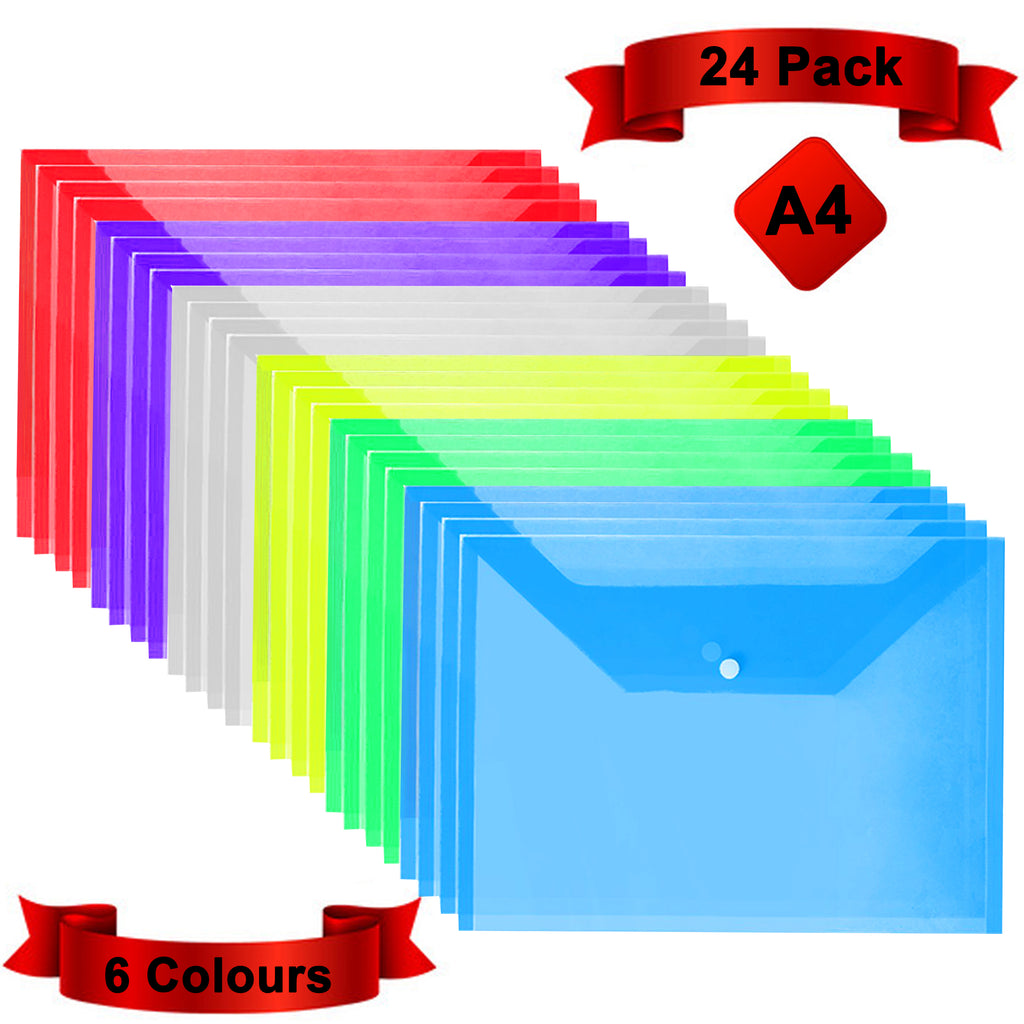 Plastic Popper Wallet Folders, 24 Pack, A4 Document File, Press Stud DL Envelope, Poly File Plastic Paper Wallet, Clear Assorted Colours, for Certificates, Receipts and Vouchers