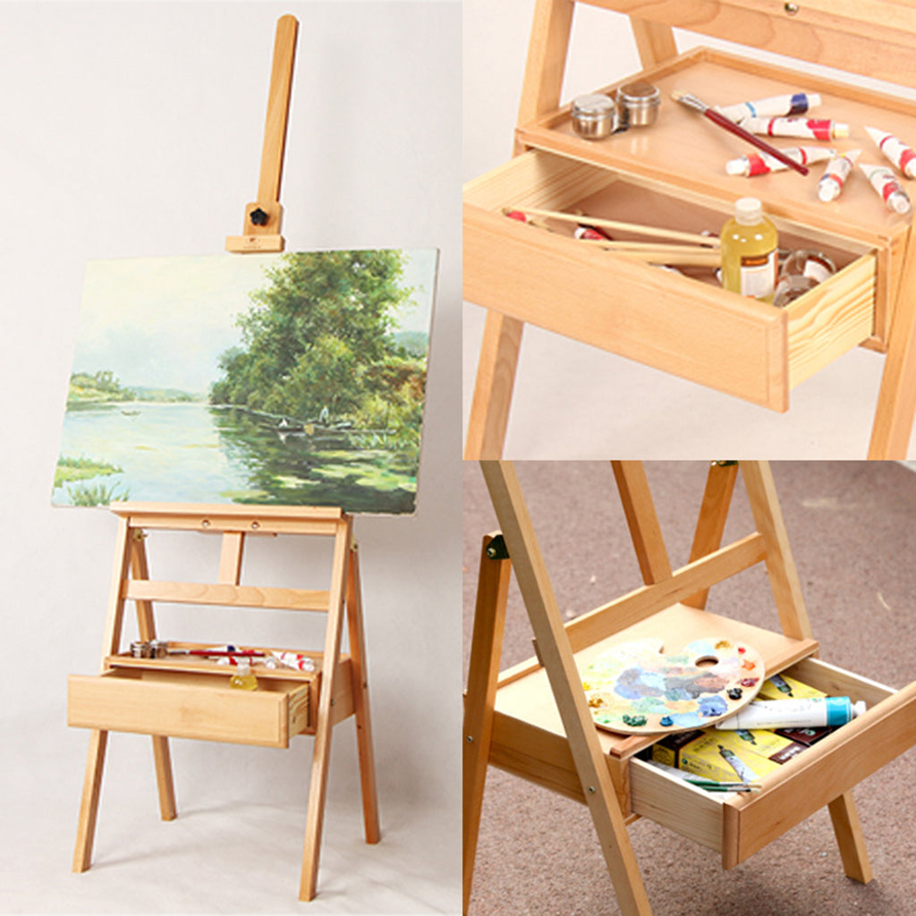 Kurtzy Wooden Studio Floor Easel Stand - Adjustable H-Frame