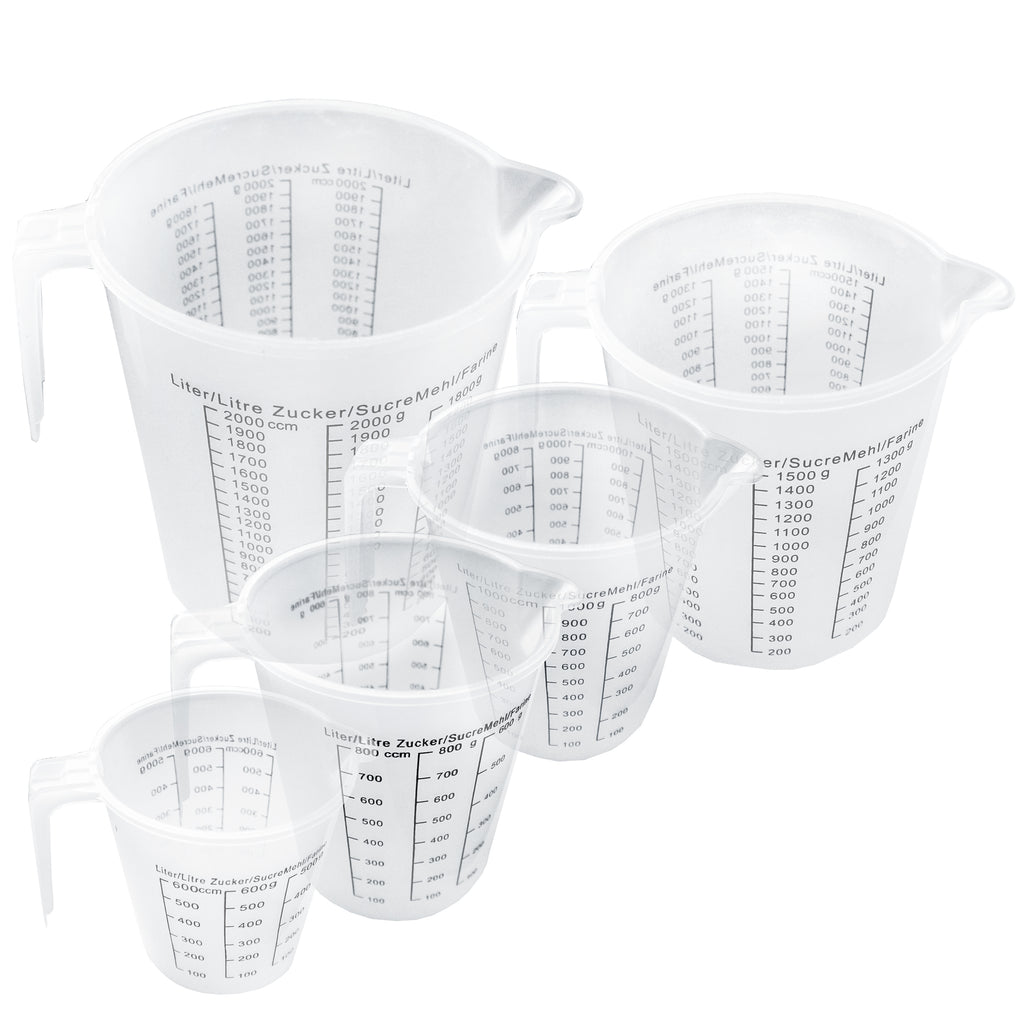 Set of 5 Clear Plastic Measuring Jugs by Kurtzy - Small to Big Jug to Measure Liquid, Oil and Baking items - Accurate Litre and CCM Metrics - Large & Mini Cups Feature Angled Grip For Kitchen Purposes