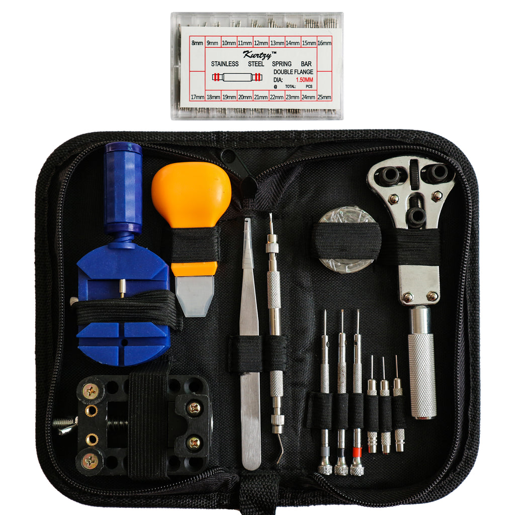 300 Piece Professional Watch Repair Tool Kit with Case by Kurtzy - Best Mechanical Set for All Mens Watchs and Womens Watches - High Quality Set Include Link Remover, Case Opener, Spring Bars and More