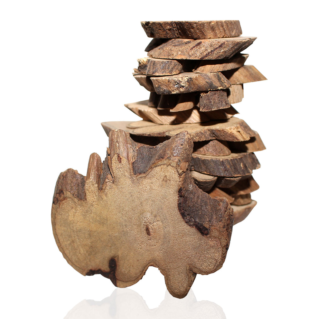 Kurtzy 500g Pack Approx 180 pcs Rustic Natural Wooden Slices Around 3.5 - 6cm Wood Log Chips with Tree Bark - 5 mm Thickness Depth for Wooden Craft Embellishments and Wedding Centerpieces Decoration