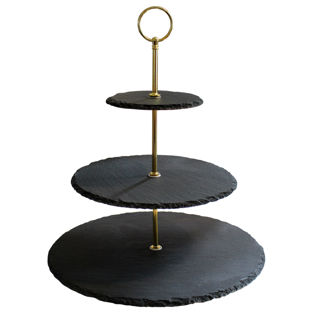 Cake Stand - 3 tier Afternoon Tea Stand, Cupcake Stand with Gold Finish Steel Handle - Natural Slate Serving Platters for Cookies, Sandwiches, Muffins, Dessert Birthday Wedding Food Photography Tool