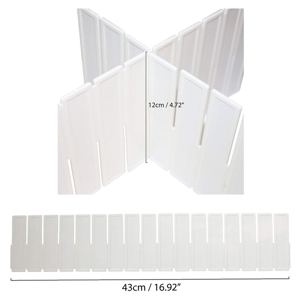 5 Piece White Plastic Adjustable Drawer Divider Storage Organiser Separators by Kurtzy - 5 43cm Separators - 12cm Depth - Organisers for Desk, Drawers, Bathroom, Kitchen and Bedroom - Separator Set