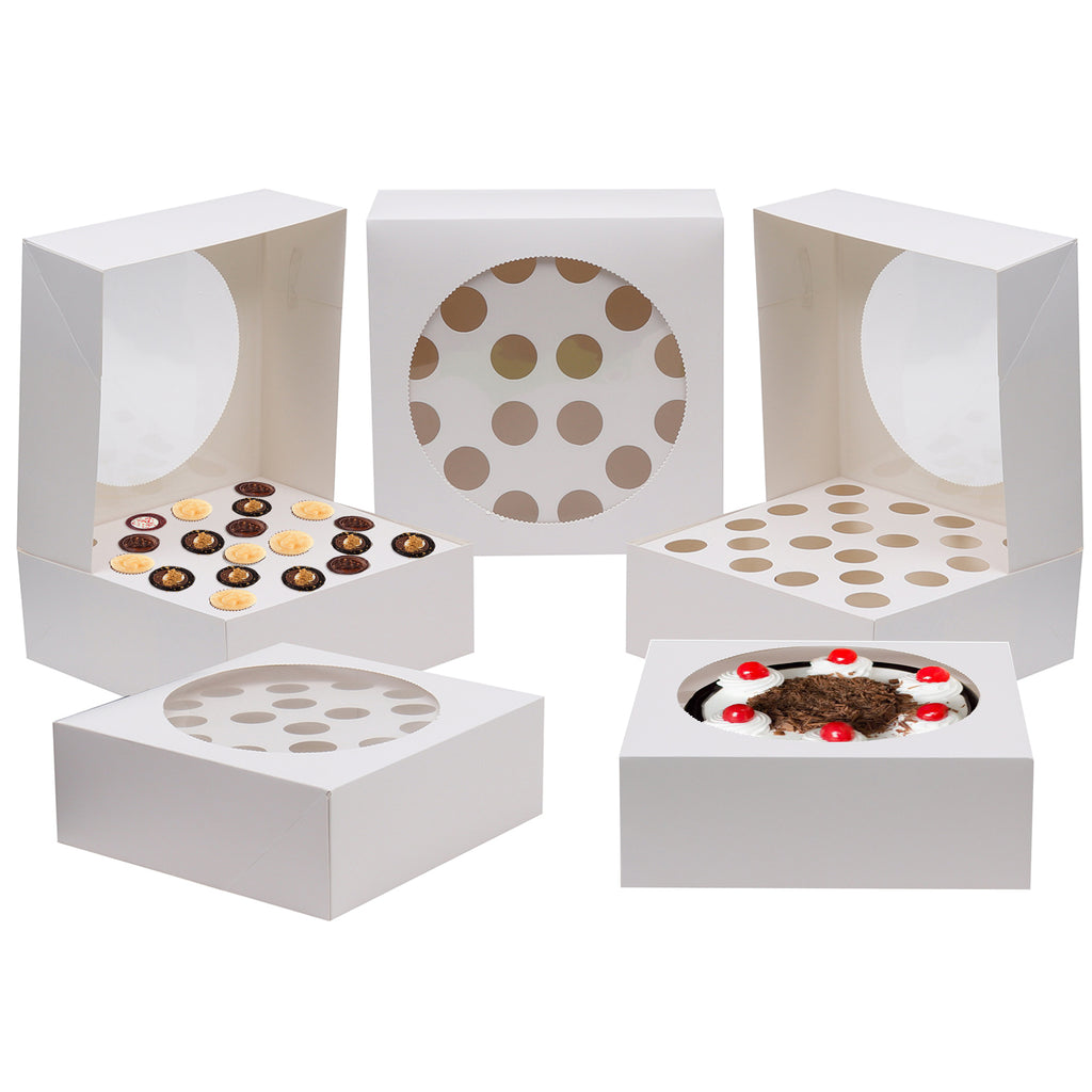 Cake Box (5 Pack) -  For 20 Individual Cupcakes or Large Single Cake (28.5 x 28.5cm) with Clear Window - Square Disposable Cardboard Cake Box for Christmas, Birthday, Party and Gifts