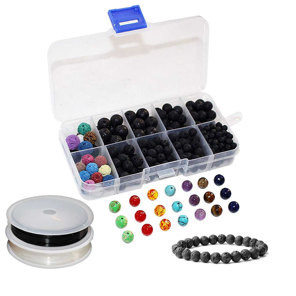 Lava Beads (325 pcs) - 7 Chakra Healing Bracelet, Pendant, Necklace, Earring Making Kit Includes 300 Essential Oil Aroma Diffuser Lava Rock Beads, 21 Gemstones, 2 Crystal Elastic Thread Rolls with Box