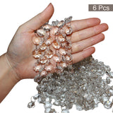 "Crystal Bead Chain Set (6 pack - 1m Long) - 1.5cm wide (0.59"") Clear Glass Octagonal Shaped Crystal Beads for Chandeliers, Hanging Door Curtains, Wedding Decorations, Bracelet and Jewellery Making"