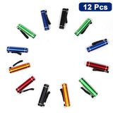 Kurtzy 12 Pack Mini torch Flashlight, Pocket-Sized LED Torch with 12 AA batteries - Red, Blue, Green, Black and Yellow - Bulk Set of Torches - Cool White Light