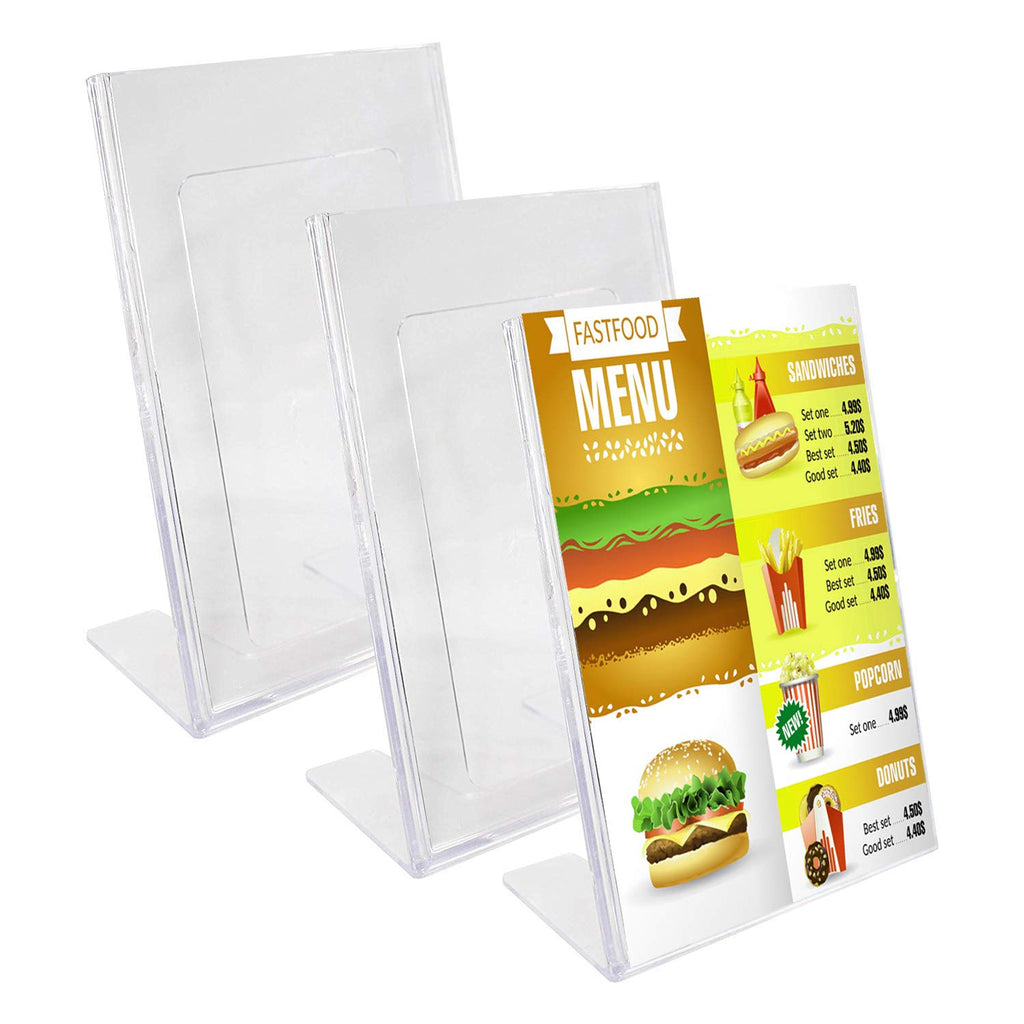 "A5 Acrylic Sign Holder - 3 Pack (Height: 22cm (8.66"") Width:16cm (6.3?)) Menu Slanted Sign Holder Display Stand for Menu Holders, Table Card Holders, Photo Frames & Ad Frames"