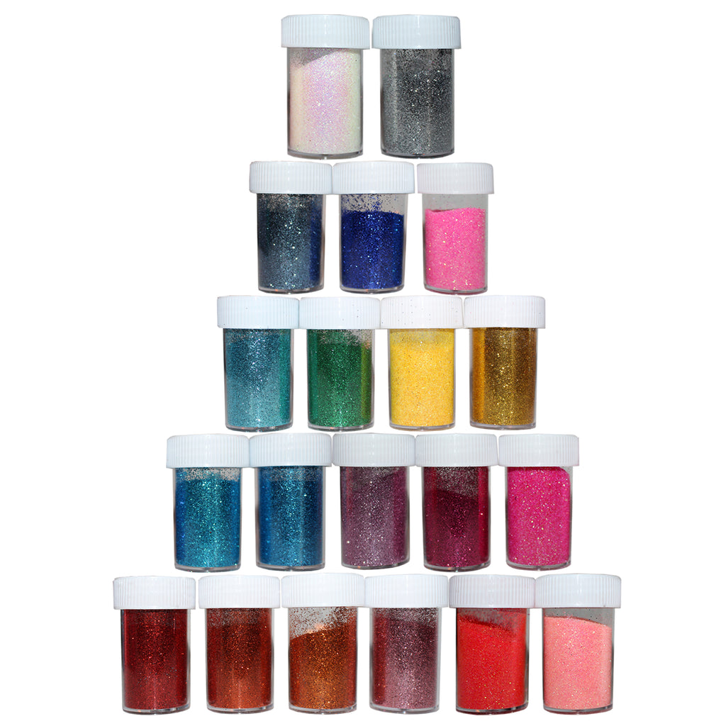 Kurtzy 20 assorted Glitter Shakers for Children for Crafts, Glitter Dust Powder for Arts & Crafts Supplies, Card Making, Scrapbook, 10mg