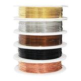 5 Rolls of Wire Wrapping Kit - Coloured Wire, Jewellery Beading Soft copper Wire, Resistant bare Copper Wire Craft Jewellery making 0.4mm Thickness 26 Gauge