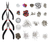 Kurtzy Silver Plated Jewellery Making kit - Jewelry Findings Starter Set with Pliers, Wire Cord Lobster Claw Clasps and Silver Findings for Earrings & Necklaces