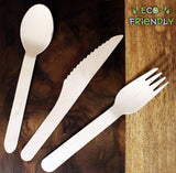 150 Pcs Disposable Wooden Cutlery Sets - Forks (50), Spoons (50) and Knives (50) - Alternative for Plastic ? Eco friendly Cutlery- Travel tableware for Parties, Weddings & Dinner Events, Picnics, Schools