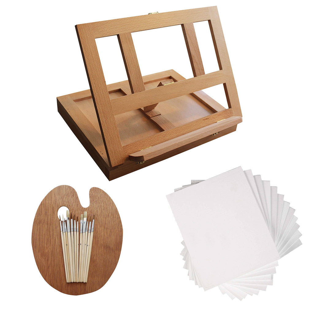 Kurtzy 26pcs Artist Workstation Easel - Mini Tabletop Wooden Easel with 12 Painting Brush, 1 Painting Palette and 12 Canvas Panel - Complete Artist Set for Beginners and Professionals