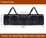 Kurtzy Car Boot Organiser, Backseat Storage, 5 Multi Mesh Pockets, Adjustable Straps, Kick mat with ipad holder, Waterproof, Durable, Foldable Cargo Bag, SUV Space Saver, Large, Black