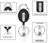 Pack of 10, Retractable Fob Holders, Carabiner Badge Reel, Recoil Pull Keyring, YoYo Keychain holder Stud strap with Spring Clip for ID card, Belt, Suitcase, Luggage Travel tags, Heavy Duty