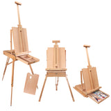 "Kurtzy Easel Stand - 190 cm/ 74.8"" French Easel - Adjustable Foldable Large Wooden Tripod Easel for Artists with Storage Shelf and Pallete - Hold Canvas Upto 17.71"" - Ideal for Painting, Sketching and Drawing"