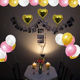 Latex Balloons (12 Inch) - 34 Gold, 34 Pink, 34 Pearl White Foil Baloons with 3 Gold Foil Heart Ballons for Kids Birthday, Wedding, Graduation, Baby shower, Hen's Party Bulk Decoration Kit