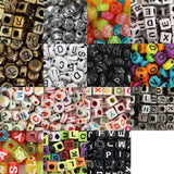 1100 Piece Assorted Alphabet Letter Bead Set in Plastic Storage Organisation Case by Kurtzy - Gold, White, Black and Multicolour Beads in Various Shapes and Sizes - Ultimate Jewellery Making Set Kit