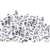"Kurtzy 800pcs Assorted Alphabet Letter Beads Set in Storage Box - Acrylic, Black, White""A-Z"" Cube Beads for Bracelet, Necklace, Key Chains and Kids Jewellery Making(5 mm)"