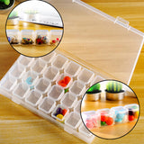Detachable Storage Box (2 Pack) - 28 Grid Transparent Clear Plastic Organiser Display Case with Lock - DIY Nail Art, Diamond Painting Rhinestone, Embroidery Thread, Buttons, Beads and Jewelry Findings