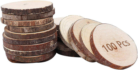 Round Natural Wood Slices (100Pcs)