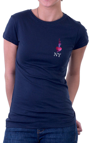 Statue of Liberty NY White Text Women's Fit T-Shirt