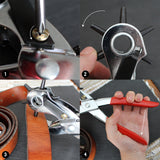 KURTZY Belt hole puncher  - Leather hole punch tool - 6 hole Revolving Punch - Multi Sized Puncher ideal for Belts, Crafts, Card, Rubber, etc  -Size 2mm, 2.5mm, 3mm, 3.5mm, 4mm and 4.5mm.
