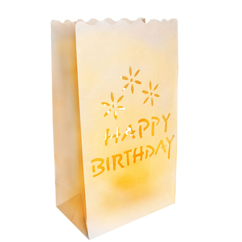 10 Pack Happy Birthday Candle Bags