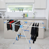 "BELLE VOUS Clothes Dryer Stand 160cm (62.99"") Multi-functional Fold-able Stainless Steel Indoor/Outdoor Portable Laundry Air Dryer with Bottom Shoe Holder Stand-Adjustable Wider Wing Drying Rack"