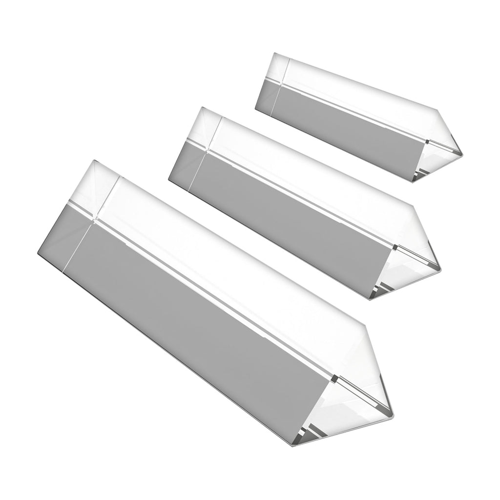 Belle Vous 3pc Crystal Prism - Crystal Optical Glass - Triangular Glass Prism of length 15, 10, 6cm with Gift Box - Prism for Teaching Light Spectrum Physics, Glass Prism & Prism Photography