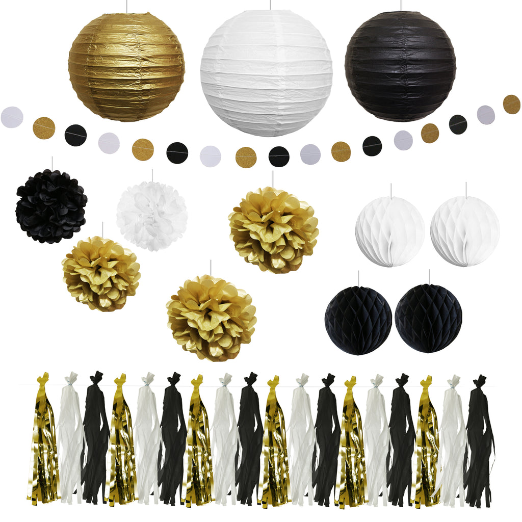 Lantern, Pom Pom & Banner Decoration Set