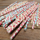 100 Piece Floral Paper Party Drinking Decorative Straws by Belle Vous - Blue, Pink and Yellow Flower Designs for Wedding, Baby Shower, BBQ, Thanksgiving, Christmas, Birthday and Engagement Parties