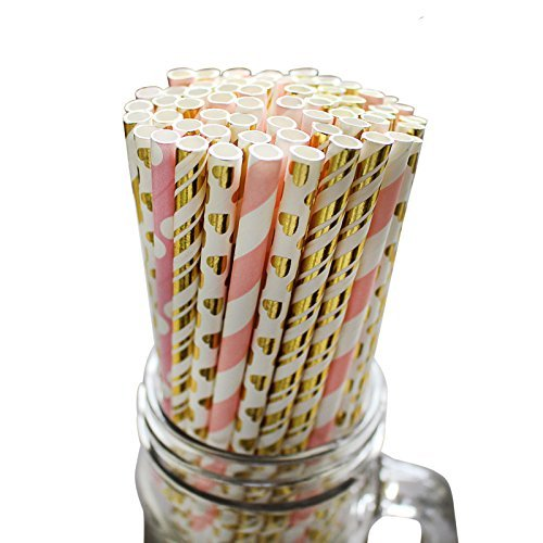 100 Piece Paper Party Drinking Decorative Straws by Belle Vous - Baby Pink, White and Gold Designs for Wedding, Baby Shower, BBQ, Thanksgiving, Christmas, Birthday and Engagement Parties