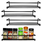 Belle Vous 4 Pack Black  Wall Mount Spice Rack Organizer for Cabinet - Single Tier Hanging Organizers for Pantry - Seasoning Organizer - Pantry Door Organizer - Spice Storage Brand