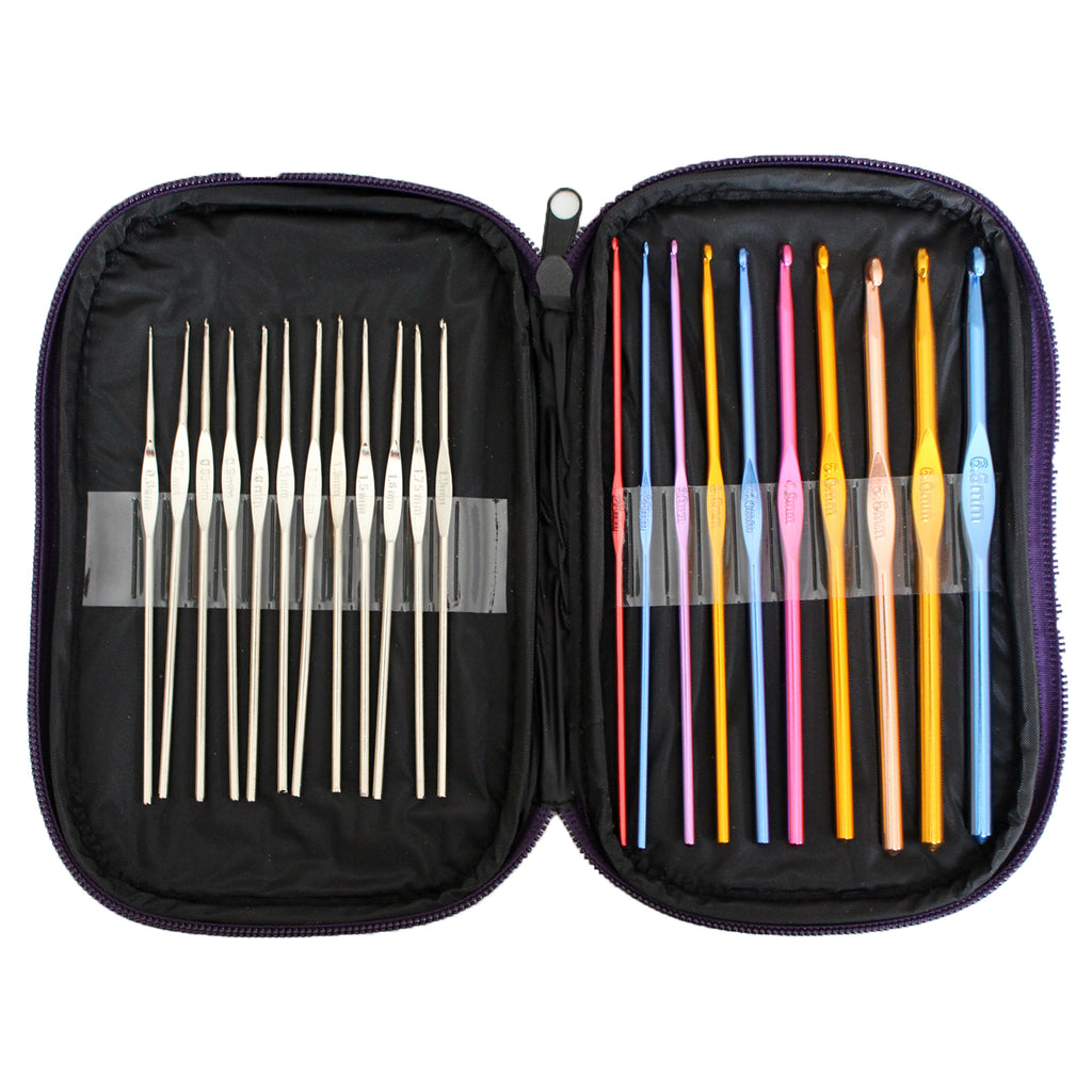 22 Piece Aluminium Crochet Hook Set