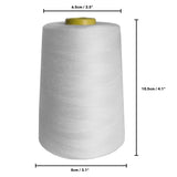 4 x 5000 Yard White Sewing Thread Spools Set by Curtzy - Large Polyester Spool Perfect for Hand & Machine Sewing - Best Thread Yards Spool Holder Cones - Multi Purpose For Embroidery, Quilting & More