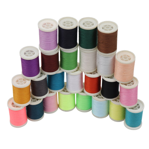 Curtzy 25 Pcs Polyester Thread - Overlock Thread Set for  Knitting, Sewing, Cross Stitch, Embroidery, Hand knitting, Weaving -   Assorted Color Sewing Machine Threads Best for Arts and Crafts