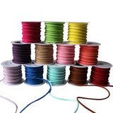 12 Pack of Suede Fabric Edge Trim Cord Ribbon by Curtzy - Assortment of Colours - 3m Rolls - 3mm Thickness - Soft Design with Bright Pigment- Embroidery Ribbons - Applique Craft Set